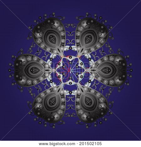 Snowflakes pattern. Flat design with abstract snowflakes isolated on colors background. Vector illustration. Vector snowflakes background. Snowflake colorful pattern.