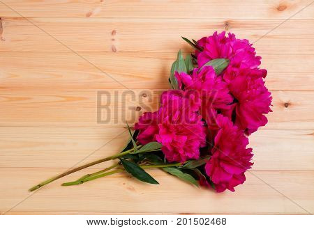 Bunch of red peonies on wooden surface