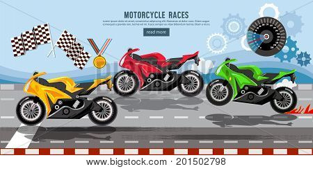 Motorcycle races banner motorcycle racing championship on the racetrack