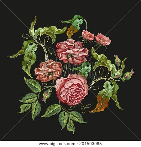 Roses embroidery. Classical embroidery vintage buds of roses on black background. Fashionable template for design of clothes t-shirt design tapestry flowers renaissance style vector