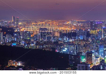 Seoul city in downtown and han river, South Korea.