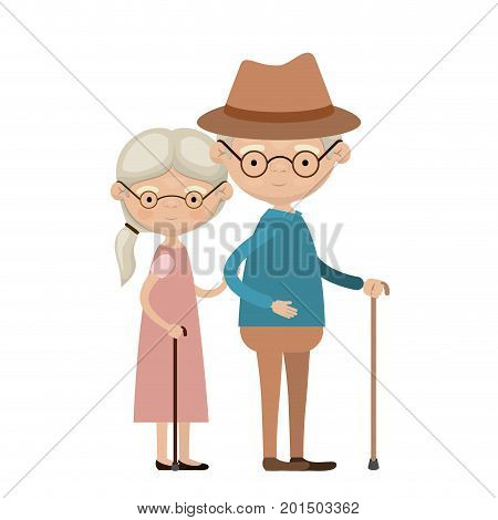 colorful full body elderly couple in walking stick grandmother side ponytail hairstyle in dress and grandfather with hat and glasses vector illustration