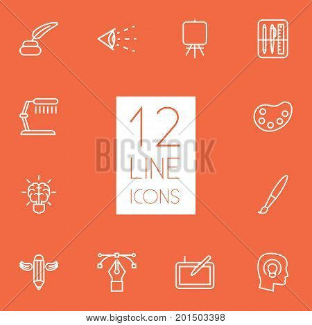 Collection Of Brain, Palette, Paintbrush And Other Elements.  Set Of 12 Constructive Outline Icons Set.