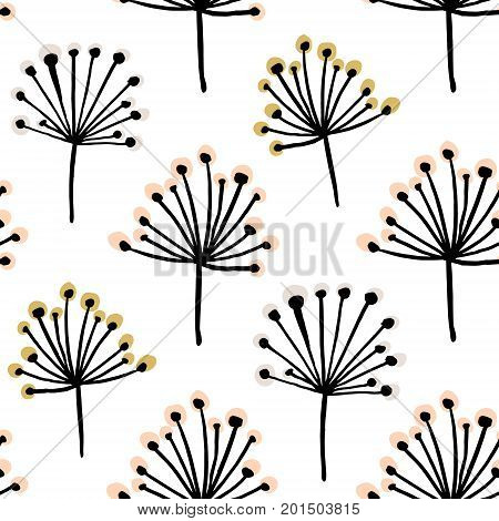 Elegant seamless pattern with flower branch. Scandinavian style vector background. Great for fabrictextilewallpaper