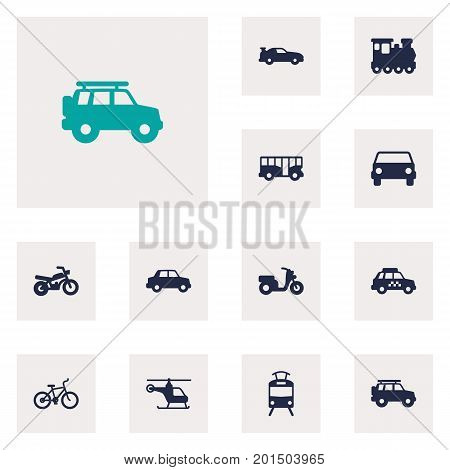 Collection Of Autobus, Bicycle, Scooter And Other Elements.  Set Of 12 Traffic Icons Set.