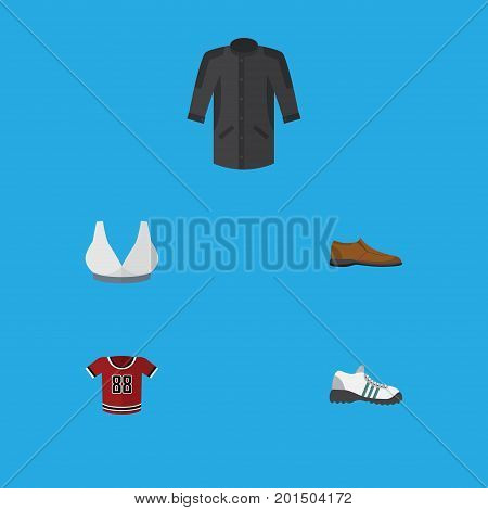 Flat Icon Clothes Set Of Uniform, Male Footware, T-Shirt And Other Vector Objects