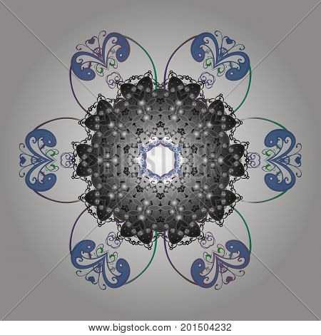 Vector illustration. Snowflake colorful pattern. Snowflakes pattern. Vector snowflakes background. Flat design with abstract snowflakes isolated on colors background.