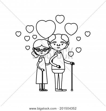 sketch silhouette of caricature full body elderly couple embraced with floating hearts grandfather in walking stick and grandmother with collected hair and glasses vector illustration
