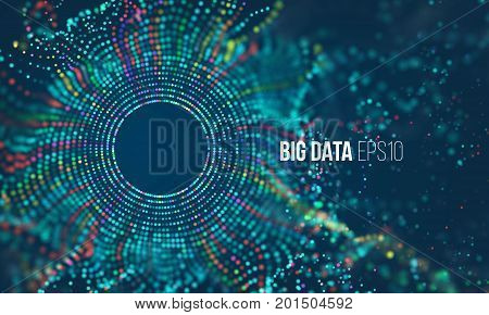 Abstract colorful particle grid with bokeh. Science dust with glow. Futuristic bigdata mesh visualization