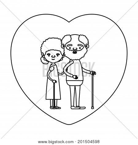 sketch silhouette of heart shape greeting card with caricature full body elderly couple embraced bearded grandfather in walking stick and grandmother with curly collected hair vector illustration
