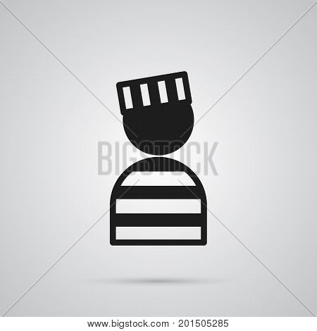 Vector Prisoner Element In Trendy Style.  Isolated Convict Icon Symbol On Clean Background.