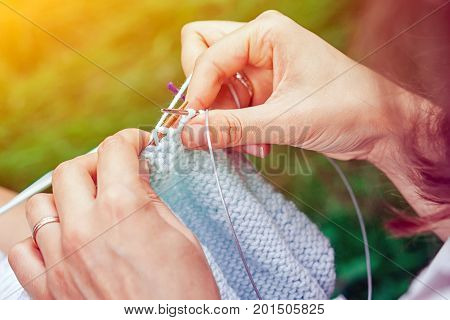 Close Up Young Woman Knit