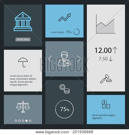 Collection Of Protect, Justice, Businessman And Other Elements.  Set Of 8 Finance Outline Icons Set.
