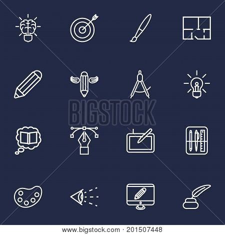 Collection Of Inkwell With Pen, Monitor, Drawing Tools And Other Elements.  Set Of 16 Constructive Outline Icons Set.