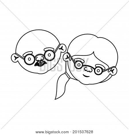 sketch silhouette of face of elderly couple bald grandfather with moustache and grandmother with glasses and side ponytail hairstyle vector illustration