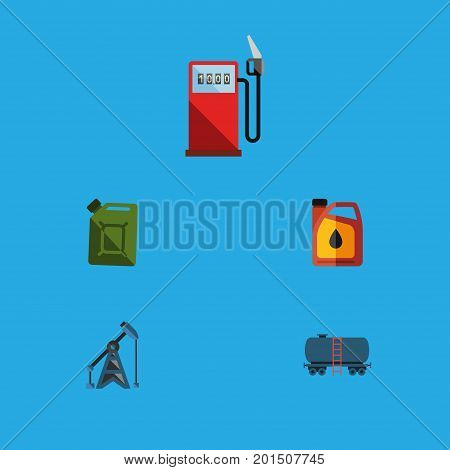 Flat Icon Fuel Set Of Jerrycan, Fuel Canister, Rig And Other Vector Objects