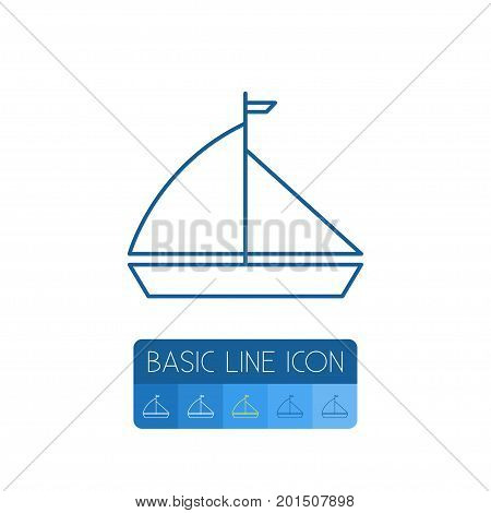 Boat Vector Element Can Be Used For Boat, Yacht, Vessel Design Concept.  Isolated Yacht Outline.