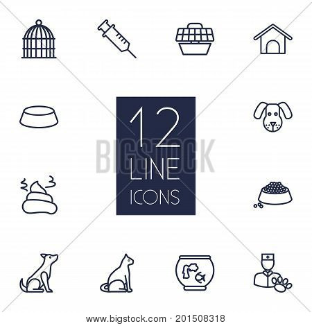 Collection Of Vet, Bird Prison, Dog And Other Elements.  Set Of 12 Mammal Outline Icons Set.