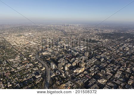 Afternoon aerial view of Hollywood and downtown Los Angeles, California.