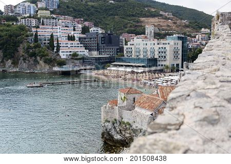 BUDVA, MONTENEGRO - AUGUST 03, 2017:View of the Budva coast from the observation deck of the ancient fortress Citadel Montenegro