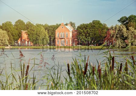 Great Pond of Catherine Park in Pushkin, Tsarskoe Selo, St. Petersburg, view of the Admiralty Pavilion