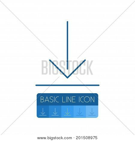 Down Arrow Vector Element Can Be Used For Download, Down, Arrow Design Concept.  Isolated Download Outline.