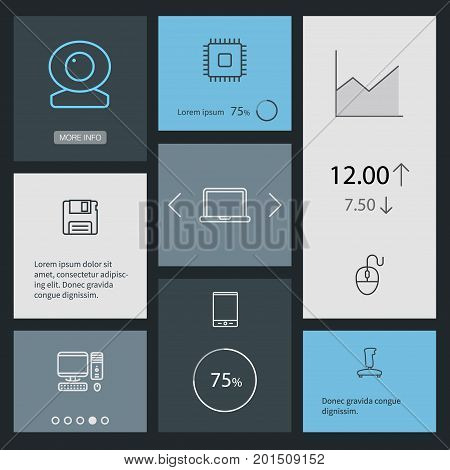 Collection Of Cpu, PC, Tablet And Other Elements.  Set Of 8 Computer Outline Icons Set.