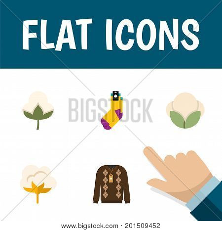 Flat Icon Fiber Set Of Cotton, Hosiery, Flower And Other Vector Objects