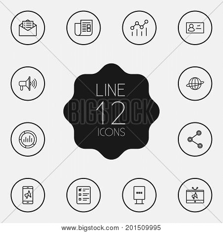 Collection Of Promotion, Newspaper, Email Promotion And Other Elements.  Set Of 12 Advertising Outline Icons Set.