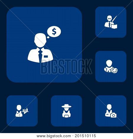 Collection Of Leaner, Cameraman, Money Agent And Other Elements.  Set Of 6 Job Icons Set.