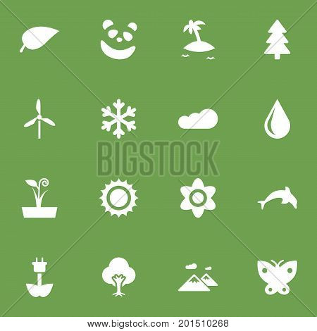 Collection Of Overcast, Green Power, Pinnacle And Other Elements.  Set Of 16 Bio Icons Set.