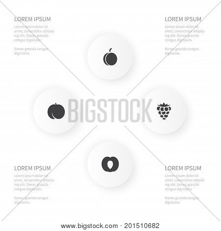 Icon Healthy Set Of Amygdalaceous, Bramble, Almond And Other Vector Objects