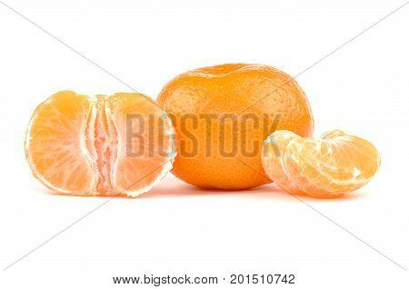 Mandarin oranges with segments, isolated on white background