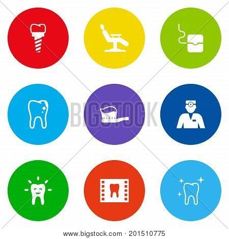 Collection Of Implantation, Dentist, Roentgen And Other Elements.  Set Of 9 Dentist Icons Set.