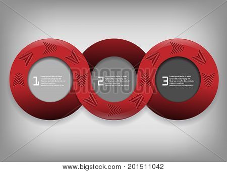 infographic vector round design with shadows and arrows. Bright template for your work. Eps10