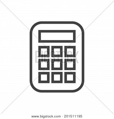 Vector Calculator Element In Trendy Style.  Isolated Calculate Outline Symbol On Clean Background.