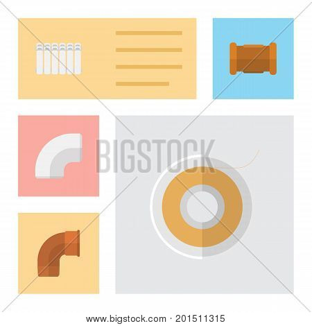 Flat Icon Pipeline Set Of Iron, Plastic, Pipe And Other Vector Objects