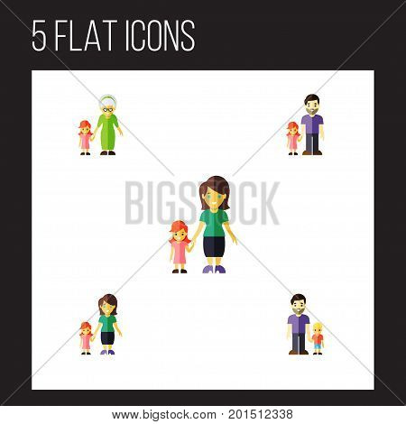 Flat Icon Family Set Of Son, Grandchild, Mother Vector Objects