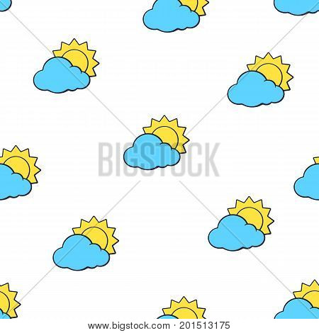 Vector illustration. Seamless pattern with suns disappeared behind a blue clouds on white background. Weather symbol. Pattern with contour