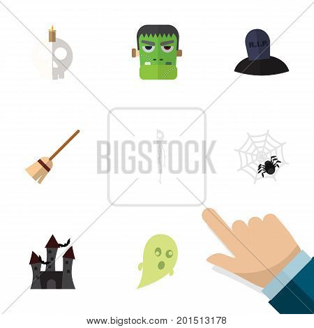 Flat Icon Celebrate Set Of Skeleton, Monster, Cranium And Other Vector Objects