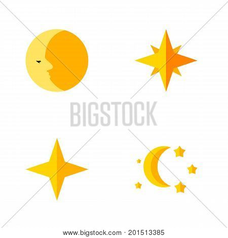 Flat Icon Bedtime Set Of Lunar, Asterisk, Bedtime And Other Vector Objects