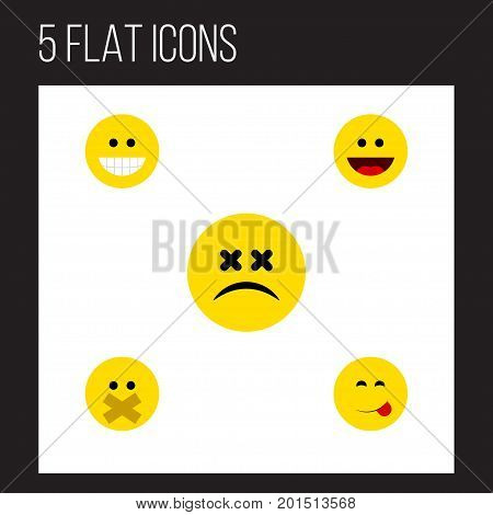 Flat Icon Expression Set Of Hush, Laugh, Grin And Other Vector Objects