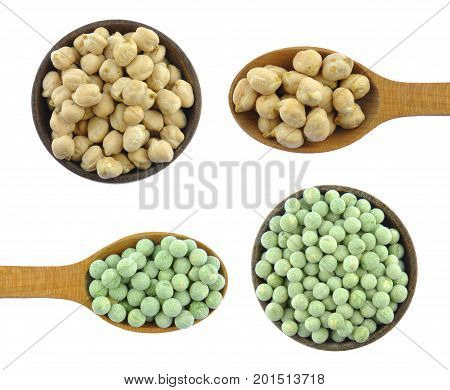 Chick peas and Green peas in wooden spoons isolated on white background