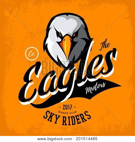 Vintage furious eagle bikers gang club vector logo concept isolated on orange background.  Street wear mascot badge design. Premium quality wild bird emblem t-shirt tee print illustration.