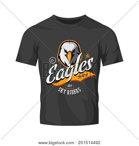 Vintage furious eagle bikers gang club vector logo concept isolated on black t-shirt mockup. Street wear mascot badge design. Premium quality wild bird emblem t-shirt tee print illustration.