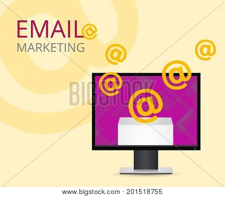 Conceptual illustration of computer with e-mails. Open the email on your computer. Vector envelope with the letter.