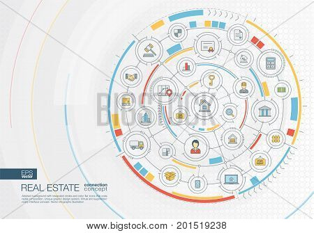 Abstract real estate background. Digital connect system with integrated circles, color flat icons. Radial design interface. Apartment rent, property sale concept. Vector infographic illustration