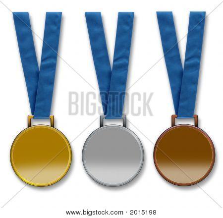 Three Blank Winners Medals
