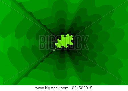 Oak leaf on green background - vector pattern , Green oak leaves