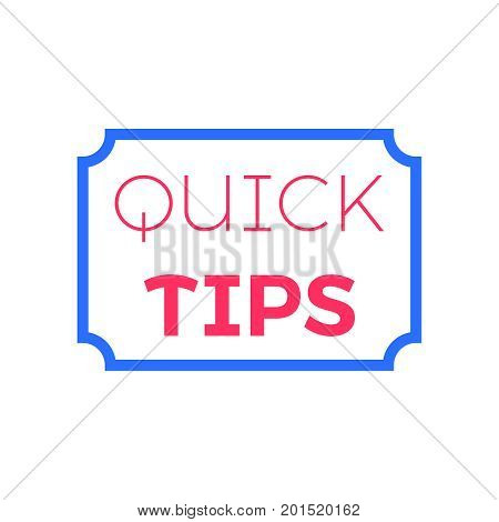 Quick tips Flat vector illustration on white background